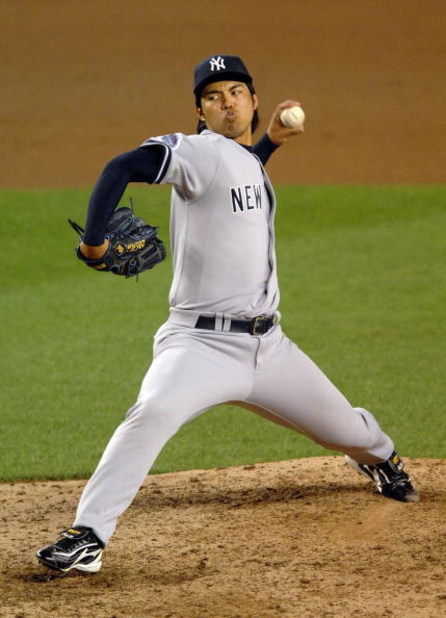 NEW YORK - JUNE 27:  Kei Igawa of the New York Yankees pitches against the New York Mets at Shea Stadium on June 27, 2008 in the Flushing neighborhood of the Queens borough of New York City.  (Photo by Michael Heiman/Getty Images)