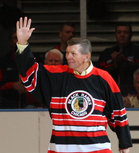 NEW YORK - FEBRUARY 22: Stan Mikita attends the ceremony honoring Andy Bathgate and Harry Howell prior to the game between the Toronto Maple Leafs and the New York Rangers on February 22, 2009 at Madison Square Garden in New York City. (Photo by Bruce Ben