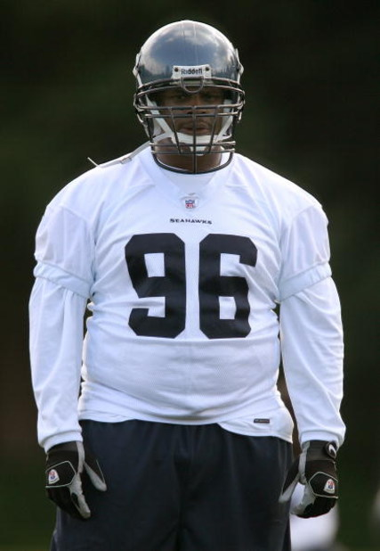 KIRKLAND, WA - MAY 04:  Defensive tackle Larry Tripplett #96 of the Seattle Seahawks looks on during mini camp on May 4, 2008 at Seahawks Headquarters in Kirkland, Washington. (Photo by Otto Greule Jr/Getty Images)