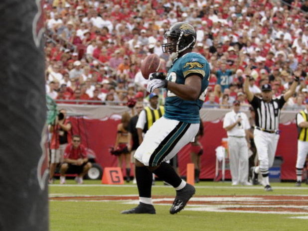 TAMPA, FL - OCTOBER 28:  Running back LaBrandon Toefield #22 of the Jacksonville Jaguars rushes for a touchdown against the Tampa Bay Buccaneers at Raymond James Stadium on October 28, 2007 in Tampa, Florida.  The Jaguars won 24 - 23. (Photo by Al Messers