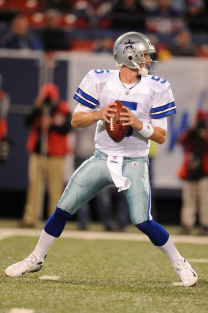 EAST RUTHERFORD, NJ - NOVEMBER 02:  Brooks Bollinger #5 of the Dallas Cowboys in action against The New York Giants during their game on November 2, 2008 at Giants Stadium in East Rutherford, New Jersey.  (Photo by Al Bello/Getty Images)