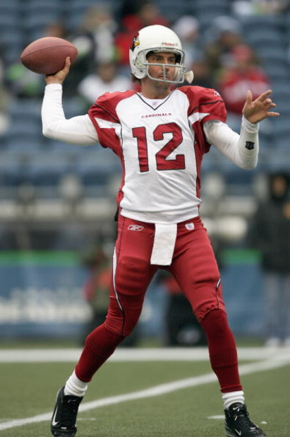 SEATTLE - DECEMBER 9: Tim Rattay #12 of the Arizona Cardinals passes the ball before the game against the Seattle Seahawks at Qwest Field December 9, 2007 in Seattle, Washington. The Seahawks defeated the Cardinals 42-21. (Photo by Otto Greule Jr/Getty Im