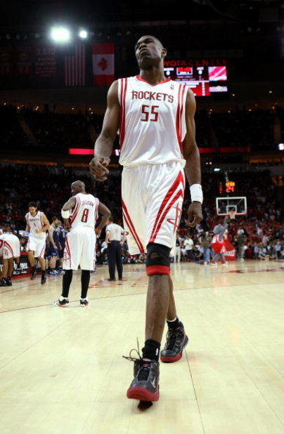 HOUSTON - APRIL 21:  Dikembe Mutombo #55 of the Houston Rockets walks on the floor before the tipoff of Game Two of the Western Conference Quarterfinals against the Utah Jazz during the 2008 NBA Playoffs at the Toyota Center April 21, 2008 in Houston, Tex