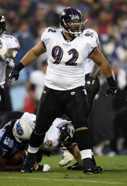 NASHVILLE, TN - JANUARY 10:  Defensive tackle Haloti Ngata #92 of the Baltimore Ravens reatcs against the Tennessee Titans during the AFC Divisional Playoff Game on January 10, 2009 at LP Field in Nashville, Tennessee.  (Photo by Andy Lyons/Getty Images)