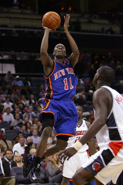 CHARLOTTE, NC - DECEMBER 21:  Jamal Crawford #11 of the New York Knicks goes up for the shot during the NBA game against the Charlotte Bobcats at Charlotte Bobcats Arena on December 21, 2007 in Charlotte, North Carolina.  The Bobcats won 105-95.  NOTE TO