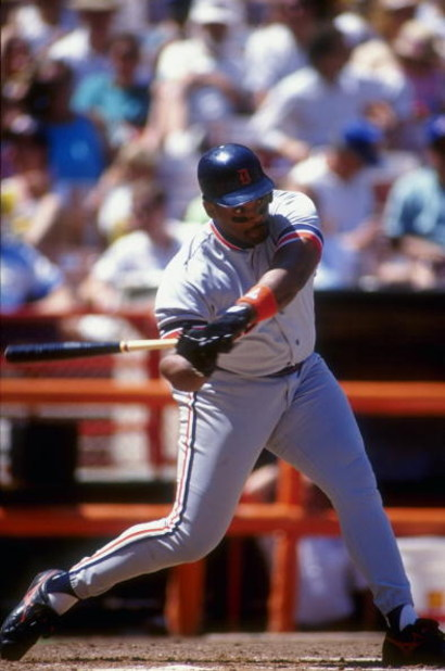1991:  Cecil Fielder of the Detroit Tigers swings at a pitch during a game against the California Angels in Anaheim, California. Mandatory Credit: Ken Levine  /Allsport
