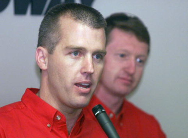 16 Nov 2000: Jeremy Mayfield is introduced as the 2002 season teammate to Bill Elliott driving the Evernham Motorsports Dodge Dealers Dodge Intrepids at the NASCAR Winston Cup NAPA 500 at the Atlanta Motor Speedway in Hampton, Georgia. Digital Image. Mand