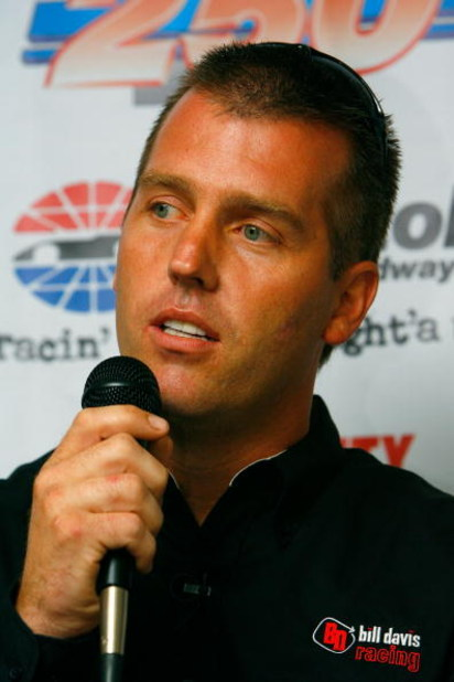 BRISTOL, TN - AUGUST 25:  Jeremy Mayfield responds to questions from the media regarding his joining the Bill Davis Racing team to drive the #36 Toyota Camry in 2007, prior to practice for the NASCAR Nextel Cup Series Sharpie 500 on August 25, 2006 at Bri