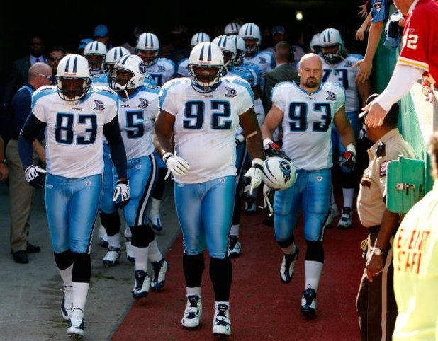 KANSAS CITY, MO - OCTOBER 19:  Albert Haynesworth #92 of the Tennessee Titans leads the team out of the tunnel prior to the start of the game against the Kansas City Chiefs on October 19, 2008 at Arrowhead Stadium in Kansas City, Missouri.  (Photo by Jami