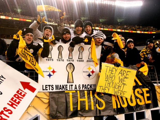 PITTSBURGH - JANUARY 18:  Fans of the Pittsburgh Steelers hold up signs in support of the Steelers after they won 23-14 against the Baltimore Ravens during the AFC Championship game on January 18, 2009 at Heinz Field in Pittsburgh, Pennsylvania.  (Photo b
