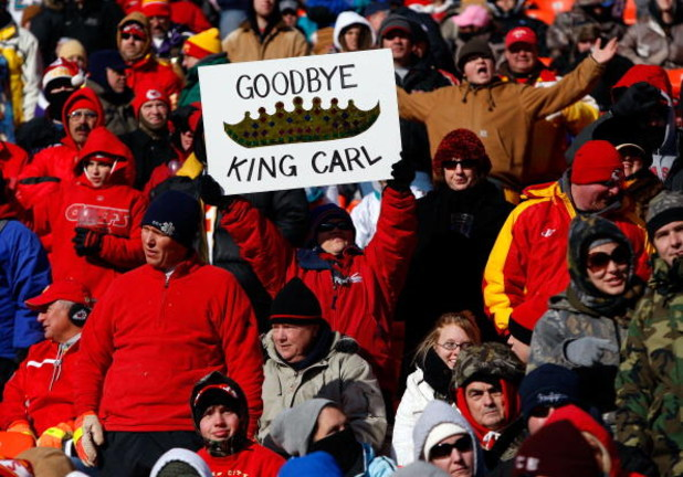 KANSAS CITY, MO - DECEMBER 21:  A sign is displayed during the game between the Miami Dolphins and the Kansas City Chiefs on December 21, 2008 at Arrowhead Stadium in Kansas City, Missouri.  (Photo by Jamie Squire/Getty Images)