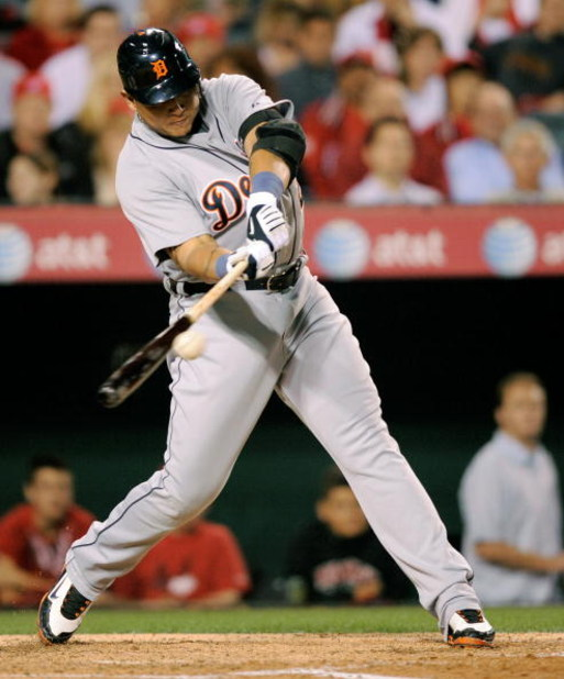 ANAHEIM, CA - APRIL 22:  Miguel Cabrera #24 of the Detroit Tigers hits a single against the Los Angeles Angels of Anaheim during the third inning of the baseball game at Angel Stadium on April 22, 2009 in Anaheim, California.  (Photo by Kevork Djansezian/
