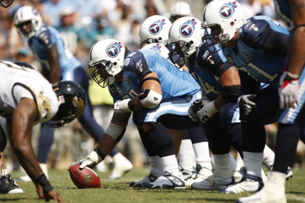 NASHVILLE, TN - SEPTEMBER 7:  Kevin Mawae #68 of the Tennessee Titans prepares to snap the ball during the game against the Jacksonville Jaguars at LP Field on September 7, 2008 in Nashville, Tennessee. (Photo by Streeter Lecka/Getty Images)