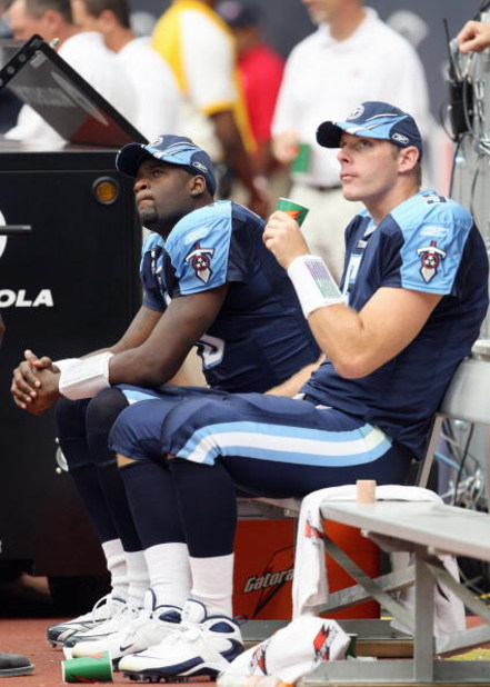 HOUSTON - OCTOBER 21: Vince Young #10 and Kerry Collins #5 of the Tennessee Titans look on from the sidelines during the game against the Houston Texans at Reliant Stadium October 21, 2007 in Houston, Texas. (Photo by Jamie Squire/Getty Images)