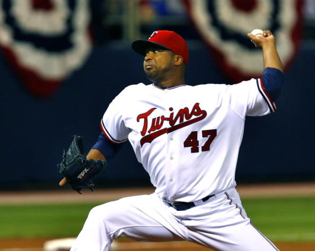 MINNEAPOLIS, MN - APRIL 6: Francisco Liriano #47 of the Minnesota Twins pitches against the Seattle Mariners on Opening Day at the Metrodome on April 6, 2009 in Minneapolis, Minnesota. (Photo by Scott A. Schneider/Getty Images)