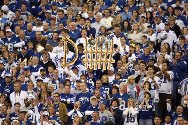 INDIANAPOLIS - JANUARY 13:  Fans of the Indianapolis Colts hold up a sign in support of the Colts defense against the San Diego Chargers during their AFC Divisional Playoff game at the RCA Dome on January 13, 2008 in Indianapolis, Indiana. The Chargers wo