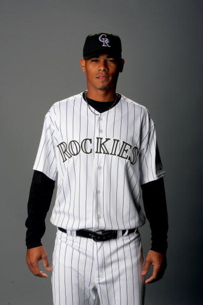 TUCSON, AZ - FEBRUARY 24:  Esmil Rogers of the Colorado Rockies poses for a portrait during photo day at Hi Corbett Field in Tucson, Arizona on February 24, 2008.  (Photo by Matthew Stockman/Getty Images)