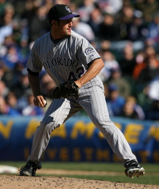 CHICAGO - APRIL 15: Huston Street of the Colorado Rockies, wearing a #42 jersey on Jackie Robinson Day, throws the ball against the Chicago Cubs on April 15, 2009 at Wrigley Field in Chicago, Illinois. The Rockies defeated the Cubs 5-2. (Photo by Jonathan