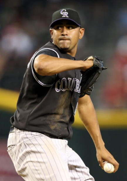 PHOENIX - APRIL 08:  Starting pitcher Franklin Morales #56 of the Colorado Rockies pitches against the Arizona Diamondbacks during the game at Chase Field on April 8, 2009 in Phoenix, Arizona. The Rockies defeated the Diamondbacks 9-2.  (Photo by Christia
