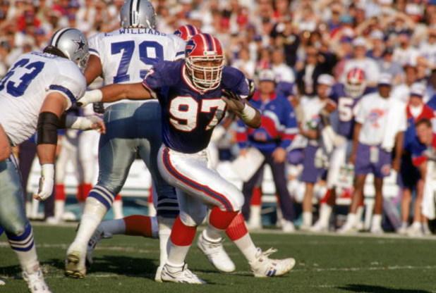 PASADENA, CA - JANUARY 31:  Linebacker Cornelius Bennett #97 of the Buffalo Bills battles against the Dallas Cowboys offense during Super Bowl XXVII at the Rose Bowl on January 31, 1993 in Pasadena, California.  The Cowboys won 52-17.  (Photo by George Ro