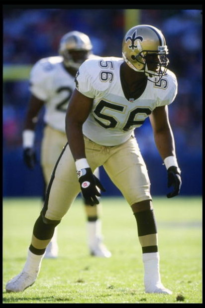 13 Dec 1992: Linebacker Pat Swilling of the New Orleans Saints looks on during a game against the Los Angeles Rams at Anaheim Stadium in Anaheim, California. The Saints won the game, 37-14.