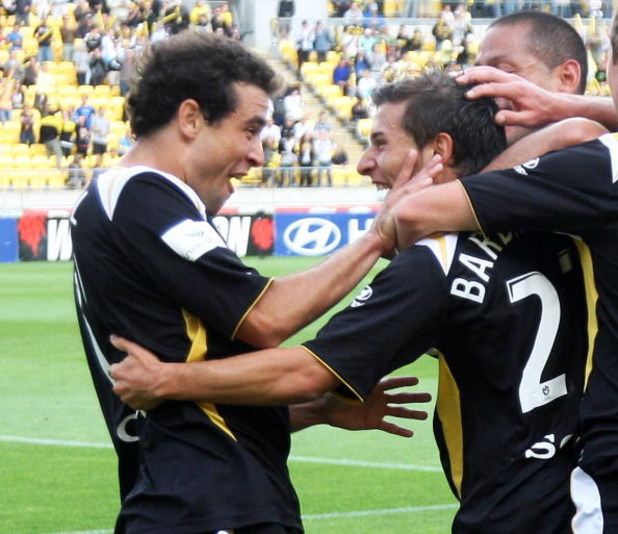 WELLINGTON, NEW ZEALAND - JANUARY 18:  Daniel and Costa Barbarouses of the Phoenix celebrate a goal during the round 20 A-League match between the Wellington Phoenix and Adelaide United held at Westpac Stadium January 18, 2009 in Wellington, New Zealand.