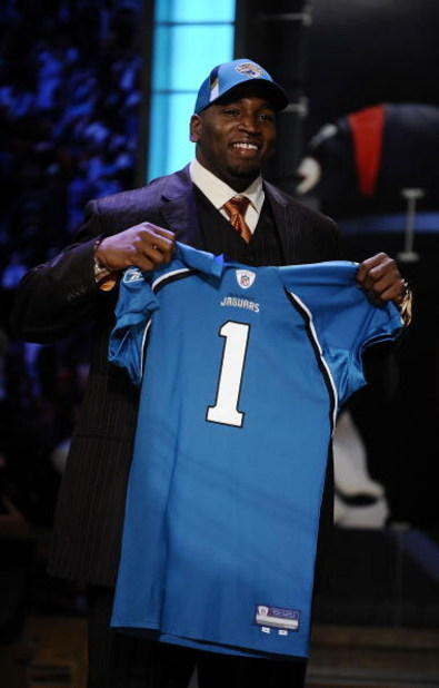 NEW YORK - APRIL 25:  Jacksonville Jaguars #8 draft pick Eugene Monroe poses with his new team jersey at Radio City Music Hall for the 2009 NFL Draft on April 25, 2009 in New York City  (Photo by Jeff Zelevansky/Getty Images)