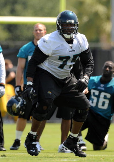 JACKSONVILLE, FL - MAY 1:  Tackle Eugene Monroe #75 of the Jacksonville Jaguars sets to block  May 1, 2009 at a team minicamp near Jacksonville Municipal Stadium in Jacksonville, Florida.  (Photo by Al Messerschmidt/Getty Images)