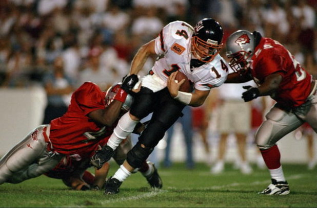 5 Sep 1998:  Seth Burford #14 of the Idaho State Bengals runs with the ball during a game against the University of New Mexico Lobos at the University Stadium in Albuquerque, New Mexico. The Lobos defeated the Bengals 38-9.
