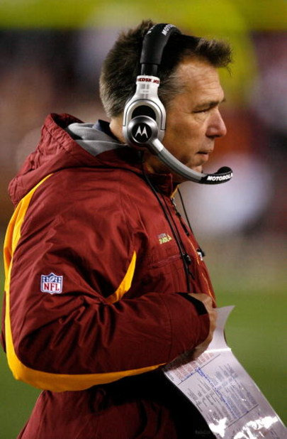 LANDOVER, MD - DECEMBER 21:  Head coach Jim Zorn of the Washington Redskins during the game against the Philadelphia Eagles on December 21, 2008 at FedEx Field in Landover, Maryland.  (Photo by Kevin C. Cox/Getty Images)