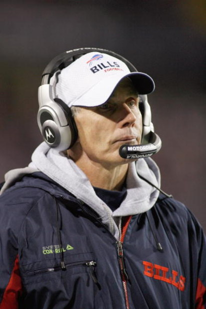 ORCHARD PARK - NOVEMBER 17:  Head coach DIck Jauron of the Buffalo Bills watches the action during the game against the Cleveland Browns on November 17, 2008 at Ralph Wilson Stadium in Orchard Park, New York. (Photo by: Rick Stewart/Getty Images)
