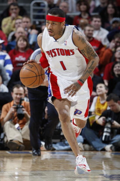 CLEVELAND - FEBRUARY 22:  Allen Iverson #1 of the Detroit Pistons brings the ball up court against the Cleveland Cavaliers on February 22, 2009 at the Quicken Loans Arena in Cleveland, Ohio. Cleveland won the game 99-78. NOTE TO USER: User expressly ackno