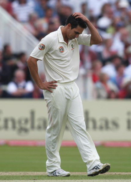 BIRMINGHAM, UNITED KINGDOM - JULY 31:  Mitchell Johnson of Australia looks dejected after having an LBW appeal against Ian Bell of England turned down during day two of the npower 3rd Ashes Test Match between England and Australia at Edgbaston on July 31,