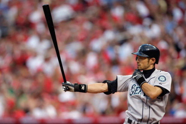 ST. LOUIS, MO - JULY 14:  American League All-Star Ichiro Suzuki of the Seattle Mariners bats during the 2009 MLB All-Star Game at Busch Stadium on July 14, 2009 in St Louis, Missouri. (Photo by Jamie Squire/Getty Images)