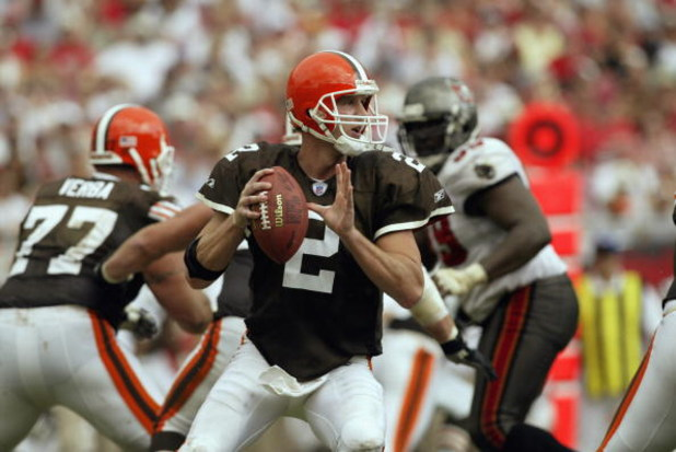 TAMPA, FL - OCTOBER 13:  Quarterback Tim Couch #2 of the Cleveland Browns looks to pass during the NFL game against the Tampa Bay Buccaneers on October 13, 2002 at Raymond James Stadium in Tampa, Florida.  The Buccaneers won 17-3. (Photo by Andy Lyons/Get