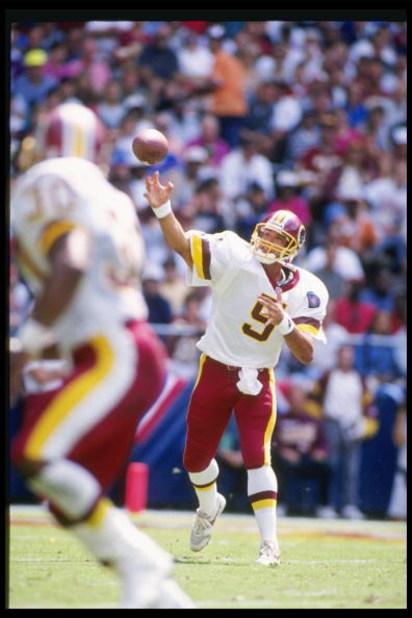 4 Sep 1994:  Quarterback Heath Shuler of the Washington Redskins passes the ball during a game against the Seattle Seahawks at RFK Stadium in Washington, D. C.  The Seahawks won the game, 28-7. Mandatory Credit: Doug Pensinger  /Allsport