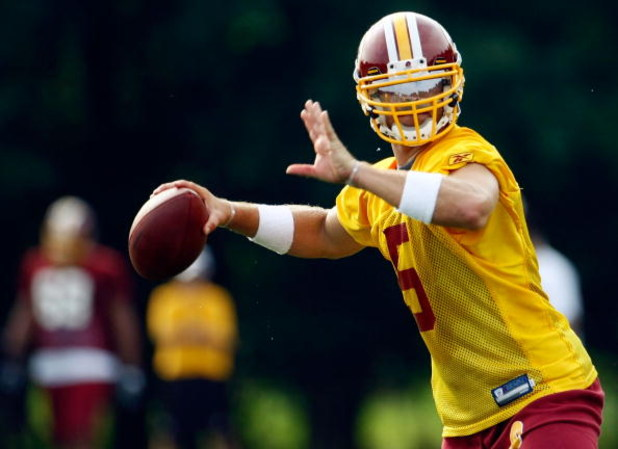 ASHBURN, VA - JULY 30:  Washington Redskins quarterback Colt Brennan (#5) drops back to pass during drills on opening day of training camp July 30, 2009 in Ashburn, Virginia.  (Photo by Win McNamee/Getty Images)