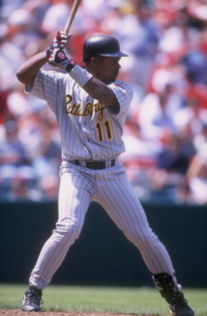 28 Apr 1998:  Outfielder Jose Guillen of the Pittsburgh Pirates in action during a game against the San Francisco Giants at the 3Com Park in San Francisco, California. The Giants defeated the Pirates 2-1. Mandatory Credit: Jeff Carlick  /Allsport