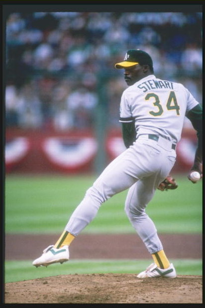 SAN FRANCISCO - 27 OCT: Pitcher Dave Stewart #34 of the Oakland Athletics throws a pitch during game 3 of the 1989 World Series game against the San Francisco Giants at Candlestick Park on October 27, 1989 in San Francisco, California. The Athletics won 1