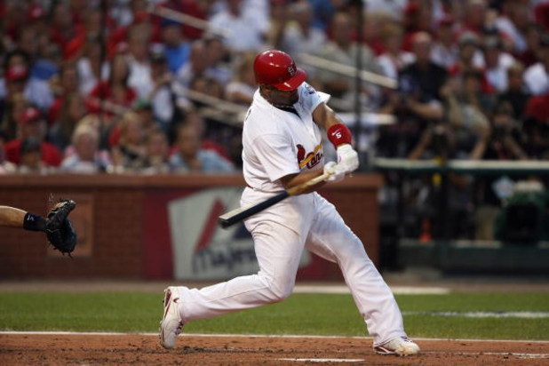 ST. LOUIS, MO - JULY 14:  National League All-Star Albert Pujols of the St. Louis Cardinals bats during the 2009 MLB All-Star Game at Busch Stadium on July 14, 2009 in St Louis, Missouri. (Photo by Dilip Vishwanat/Getty Images)