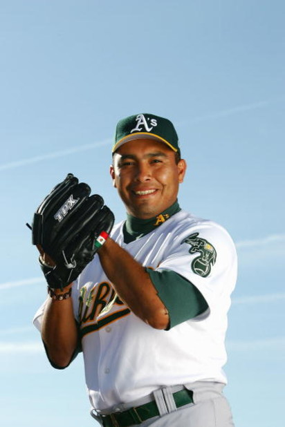 PHOENIX, AZ - FEBRUARY 28:  Ricardo Rincon #73 of the Oakland Athletics poses for a portrait during the Oakland Athletics Photo Day at Papago Park on February 28, 2005 in Phoenix, Arizona. (Photo by Nick Laham/Getty Images)