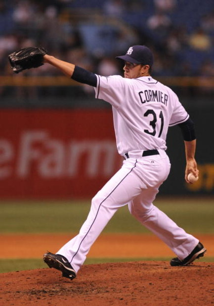 ST. PETERSBURG, FL - APRIL 16: Pitcher Lance Cormier #31 of the Tampa Bay Rays throws in relief against the Chicago White Sox on April 16, 2009 at Tropicana Field in St. Petersburg, Florida.  (Photo by Al Messerschmidt/Getty Images)