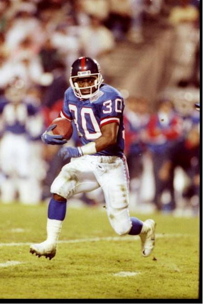 27 Jan 1991:  Running back Dave Meggett of the New York Giants moves the ball during Super Bowl XXV against the Buffalo Bills at Tampa Stadium in Tampa, Florida.  The Giants won the game, 20-19. Mandatory Credit: Rick Stewart  /Allsport
