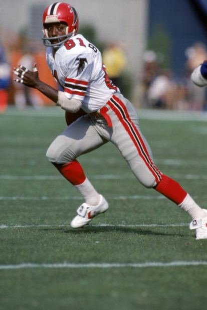 ANAHEIM, CA - OCTOBER 16:  Wide receiver Billy Johnson #81 of the Atlanta Falcons runs on a play during a game against the Los Angeles Rams at Anaheim Stadium on October 16, 1983 in Anaheim, California.  The Rams won 27-21.  (Photo by George Rose/Getty Im