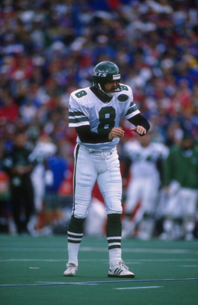 8 Oct 1995:  Place kicker Nick Lowery of the New York Jets focuses on the football as the prepares to attempt a field goal during the Jets 29-10 loss to the Buffalo Bills at Rich Stadium in Orchard Park, New York.  Mandatory Credit: Rick Stewart  /Allspor