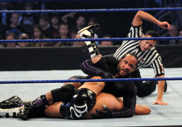 NEW YORK - APRIL 28: M.V.P. pins  Dolph Ziggler during a match at WWE SmackDown at Madison Square Garden on April 28, 2009 in New York City.  (Photo by George Napolitano/Getty Images)