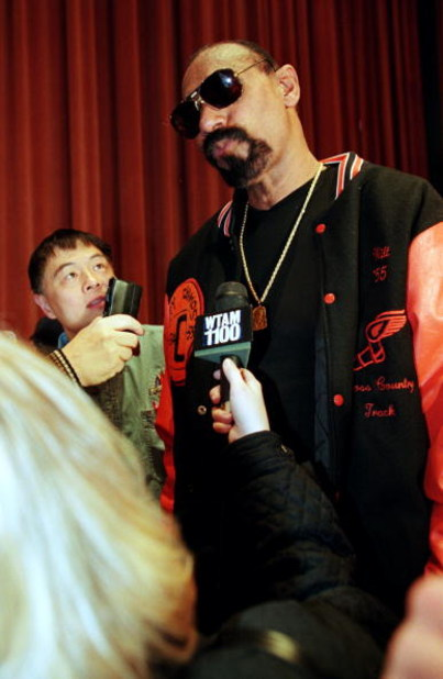 7 Feb 1997:  Former Los Angeles Laker Wilt Chamberlain addresses the media at a press conference before the NBA All-Star Game at the Renaissance Hotel in Cleveland, Ohio. Mandatory Credit: Brian Bahr  /Allsport