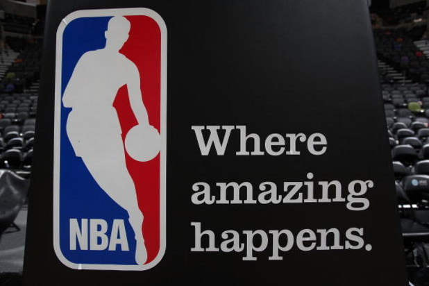 SAN ANTONIO - APRIL 18:  The NBA logo after a game between the Dallas Mavericks and the San Antonio Spurs in Game One of the Western Conference Quarterfinals during the 2009 NBA Playoffs at AT&T Center on April 18, 2009 in San Antonio, Texas. NOTE TO USER