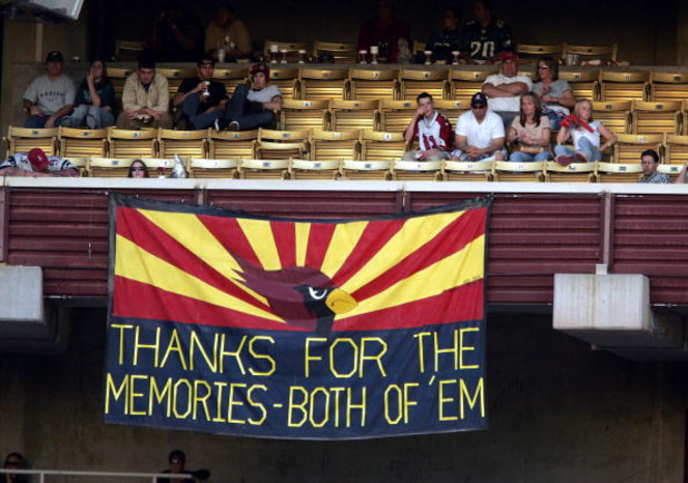 TEMPE, AZ - DECEMBER 24:  A banner hangs to commemorate the lack of success the Arizona Cardinals had in their 18 years at Sun Devil Stadium during their game against the Philadelphia Eagles on December 24, 2005 in Tempe, Arizona. The Cardinals won the ga