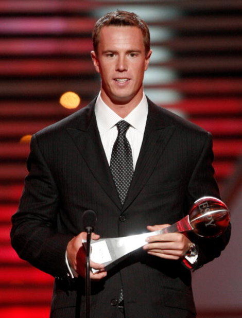 LOS ANGELES, CA - JULY 15:  Quarterback Matt Ryan accepts the Breakthrough Athlete Award during the 2009 ESPY Awards held at Nokia Theatre LA Live on July 15, 2009 in Los Angeles, California. The 17th annual ESPYs will air on Sunday, July 19 at 9PM ET on